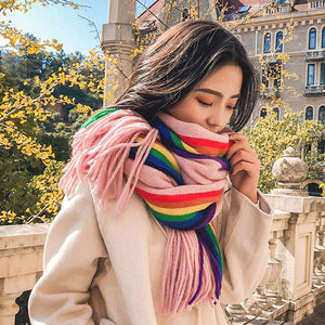 Cozy Rainbow Thick Warm Scarf