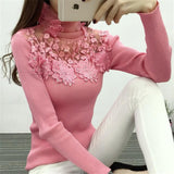 Elegant Floral Mesh Sparkle Turtleneck Sweater