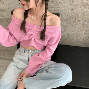 Vintage Lantern Sleeve Cropped Sweater