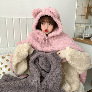 Kawaii Bear Ear Furry Hoodie - Thick Plush Pullover