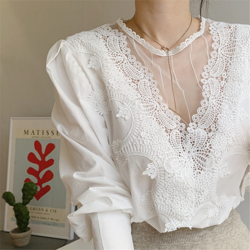 Lace Cutout Puff Sleeve Blouse