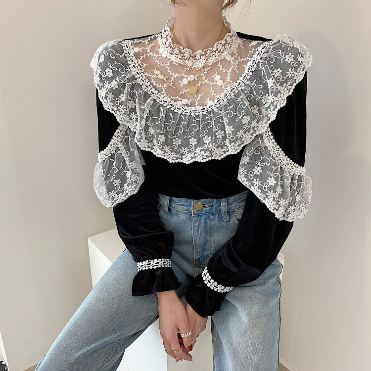 Chic Velvet Lace Detail Girly Blouse