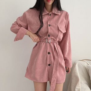 Chic Corduroy Belted Long Sleeve Button Up Dress