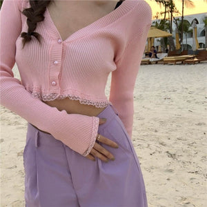 Long Sleeve Knit Lace Cardigan