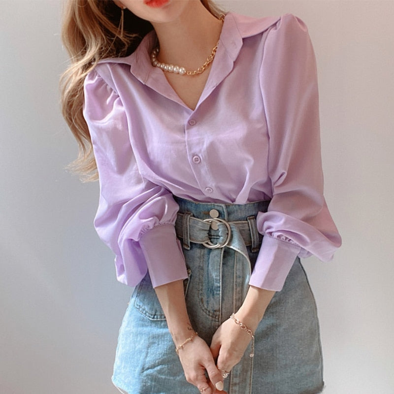 Casual Lantern Sleeve Button Up Blouse