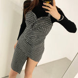 Two Piece Plaid Strap Dress and Long Sleeve Sweater