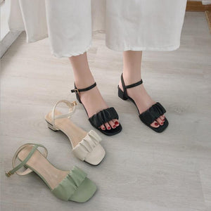 Strap Buckle Heeled Sandals