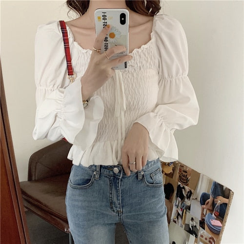 Sweet Ruffle Bow Blouse