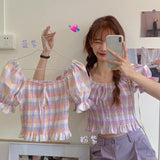 Pastel Plaid Bow Blouse