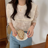 Floral Lace Sailor Collar Puff Blouse
