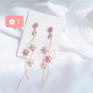 Pink Crystal Flower Drop Earrings