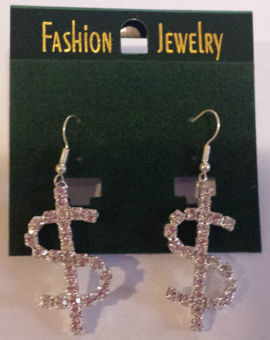 Dollar Sign Rhinestone Dangle Earrings SILVER