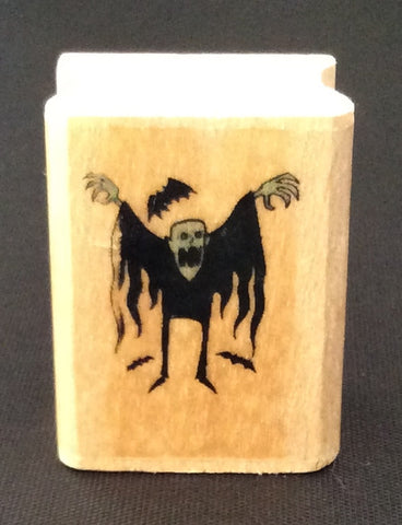 Halloween Frankenstein and Bats Rubber Stamp