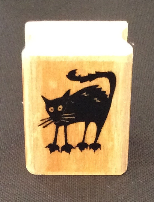 Halloween Black Cat Rubber Stamp