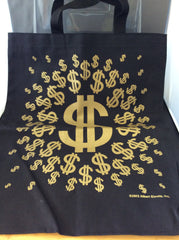 $ Dollar Sign Tote Bag - BLACK WITH GOLD