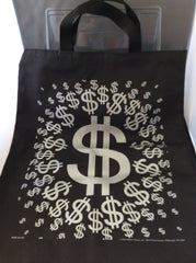 $ Dollar Sign Tote Bag - BLACK AND SILVER
