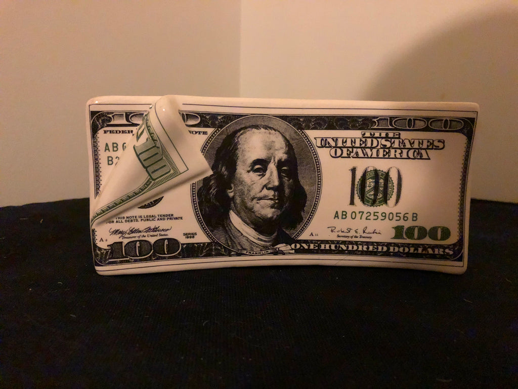 LIMITED QTY: Bank - Ceramic - Benjamin Franklin $100 bill