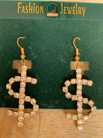 Dollar Sign Rhinestone Dangle Earrings GOLD