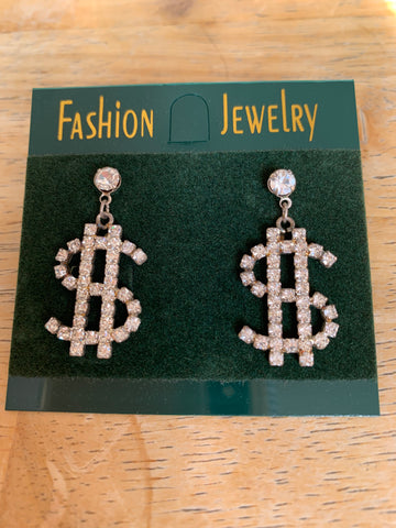 Dollar Sign SILVER and Rhinestone post earrings