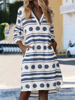 White Geometric Printed Long Sleeve V Neck Dresses