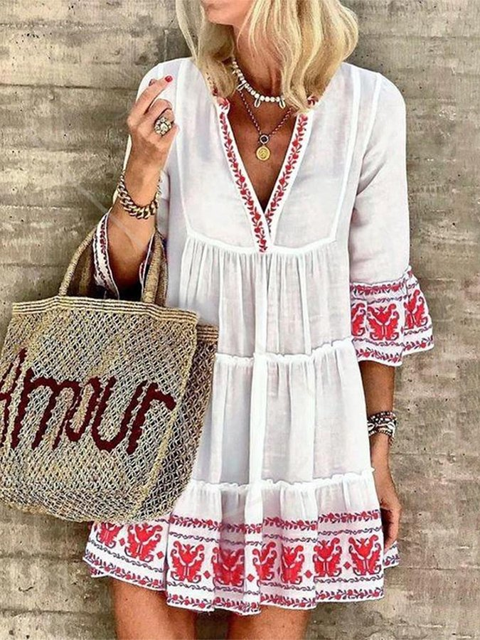 White Casual V Neck 3/4 Sleeve Dresses