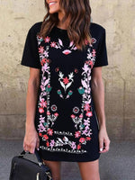 Round Neck Floral Short Sleeve Dresses