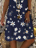 Floral Short Sleeve Casual V Neck Shift Dresses