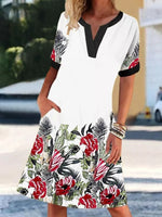 White Leaf Short Sleeve A-Line Printed Dresses