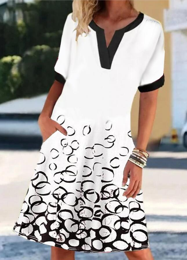 White Short Sleeve Crew Neck Dresses