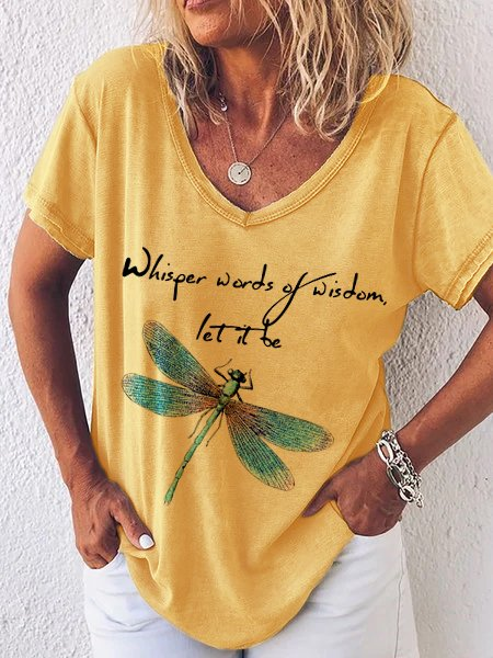 Yellow V Neck Printed Casual Short Sleeve Shirts & Tops