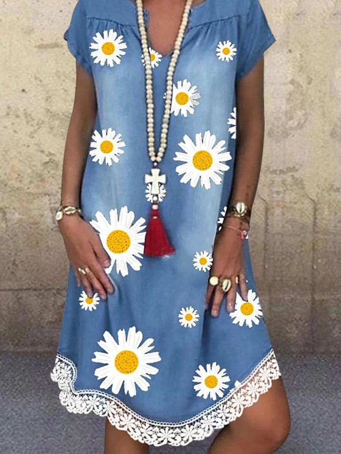 Blue Floral V Neck Printed Short Sleeve Dresses
