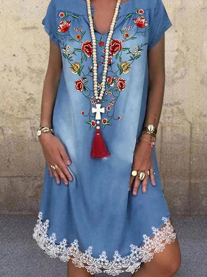 Blue V Neck Floral Printed Holiday Short Sleeve Lace Dresses