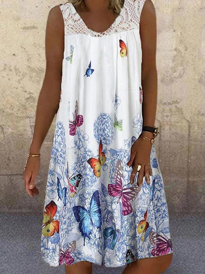 White Butterfly Printed V Neck Sleeveless Lace Paneled Dresses