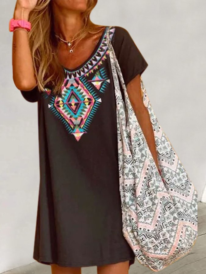 Black Shift Short Sleeve Printed Dresses