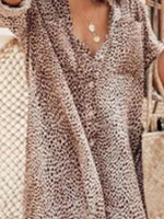 Khaki Vintage Shift Leopard Print Dress