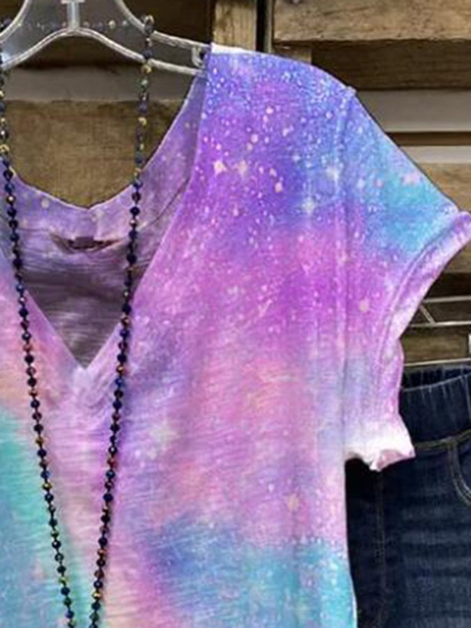 Purple V Neck Ombre/tie-Dye Short Sleeve Shift Shirts & Tops