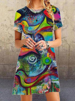 Green Short Sleeve Abstract Casual Printed Dresses