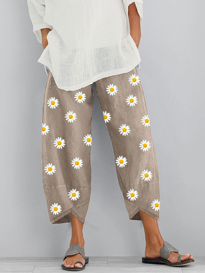Khaki Casual Floral Linen Shift Pants