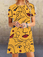 Yellow Abstrac Short Sleeve Casual Dresses