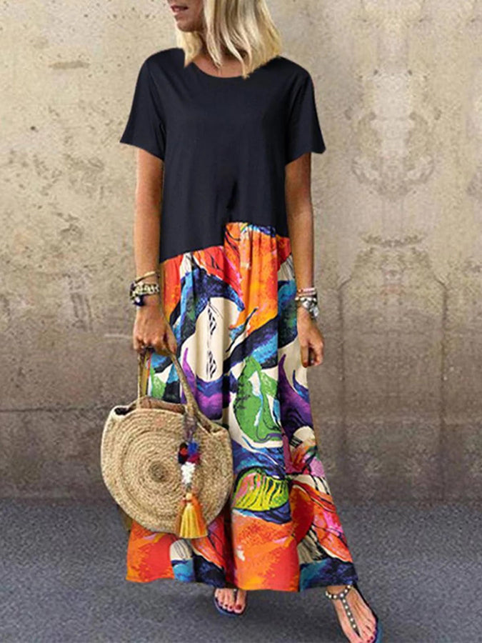 Black Short Sleeve Floral-Print Cotton Crew Neck Dresses