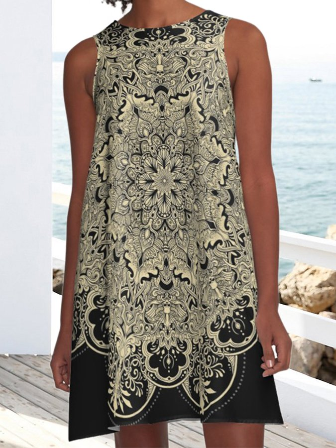 Black Retro Pockets Crew Neck Tribal Sleeveless Dresses