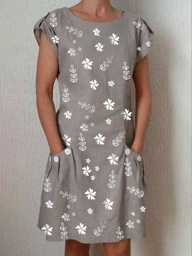 Gray Short Sleeve Casual Cotton Crew Neck Dresses