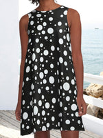 Black Polka Dots Pockets Printed A-Line Casual Dresses