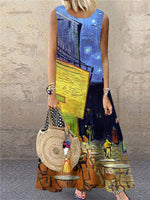 Summer Shift Cotton-Blend Abstract Sleeveless Dresses
