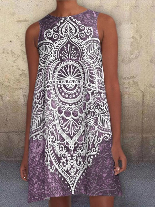 Purple Geometric Pockets Sleeveless Crew Neck Printed A-line Dresses