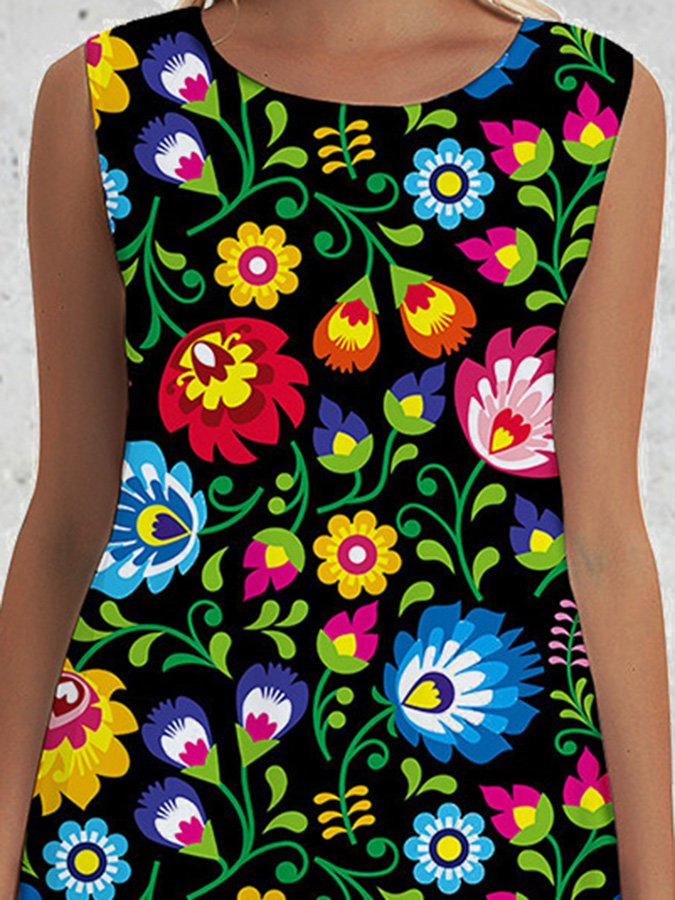 Black Floral Printed A-Line Casual Dresses