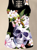 Black Crew Neck Sheath Sleeveless Floral Shirts & Tops