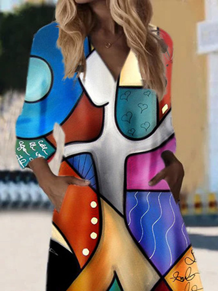 Multicolor V Neck High Low Casual Abstract Dress
