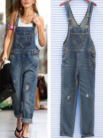 Blue Shift Spaghetti-Strap Solid Pockets Denim Jumpsuit