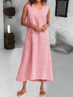 Linen Plain Crew Neck Sleeveless Dresses